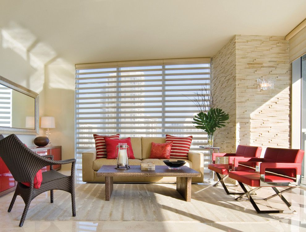 Pirouettes for a Eclectic Living Room with a Window Covering and Hunter Douglas Pirouette by Tri City Blinds