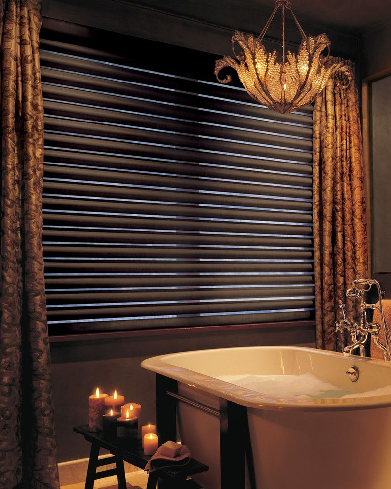Pirouettes for a Traditional Bathroom with a Blind and Hunter Douglas Pirouette by Tri City Blinds