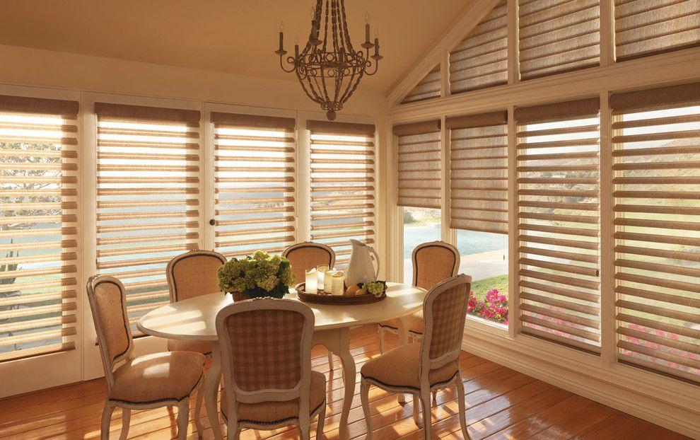 Pirouettes for a Traditional Dining Room with a Pirouette and Hunter Douglas Pirouette by Tri City Blinds