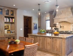 Pismo Dunes for a Rustic Kitchen with a Range Hood and Charmean Neithart Interiors, LLC. by Charmean Neithart Interiors