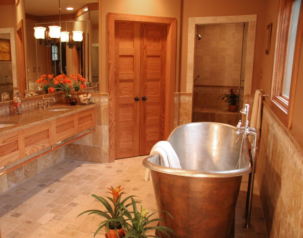 Pismo Dunes for a Traditional Bathroom with a Oak Trim and Bungalow Bath by Gibson Gimpel Interior Design