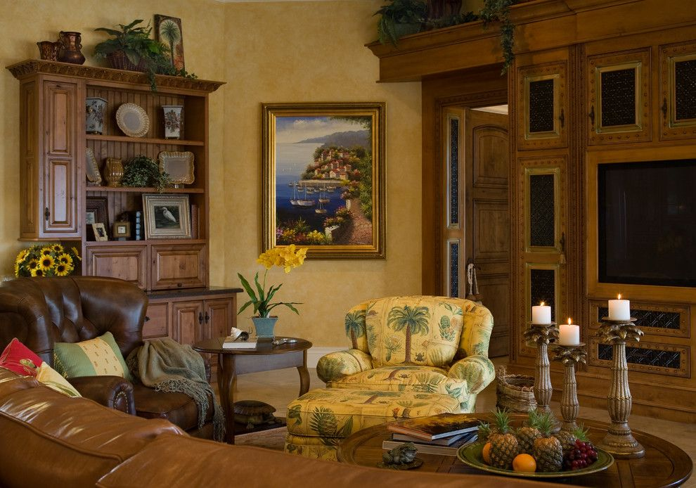 Planting Sunflowers for a Traditional Family Room with a Leather Armchair and Casa Paralea by Jma Interior Design