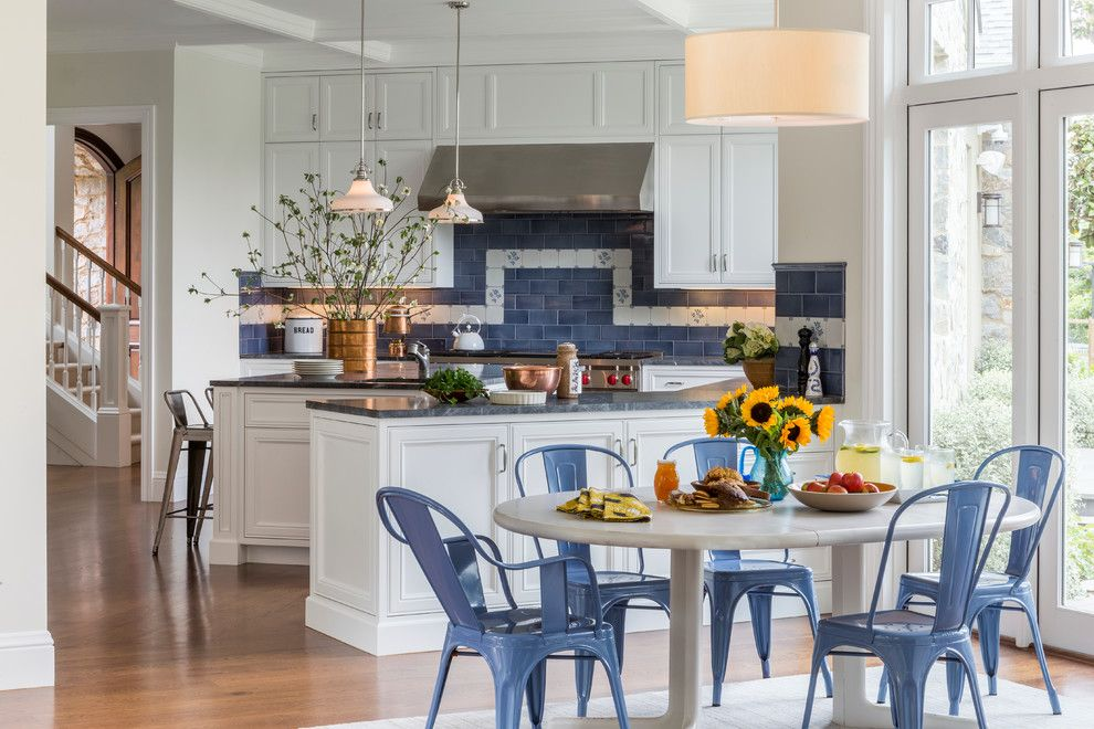 Planting Sunflowers for a Traditional Kitchen with a Blue Dining Chairs and Soft Traditional in Sonoma by Alden Miller Interiors