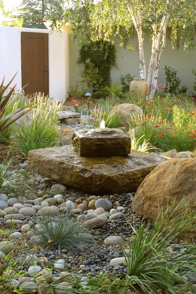 Planting Wildflowers for a Mediterranean Landscape with a Water Feature and Grace Design Associates by Margie Grace   Grace Design Associates