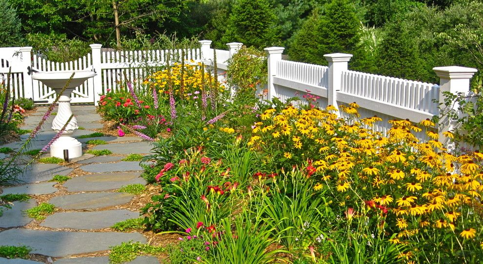 Planting Wildflowers for a Traditional Landscape with a Gate and Howard Roberts by Liquidscapes