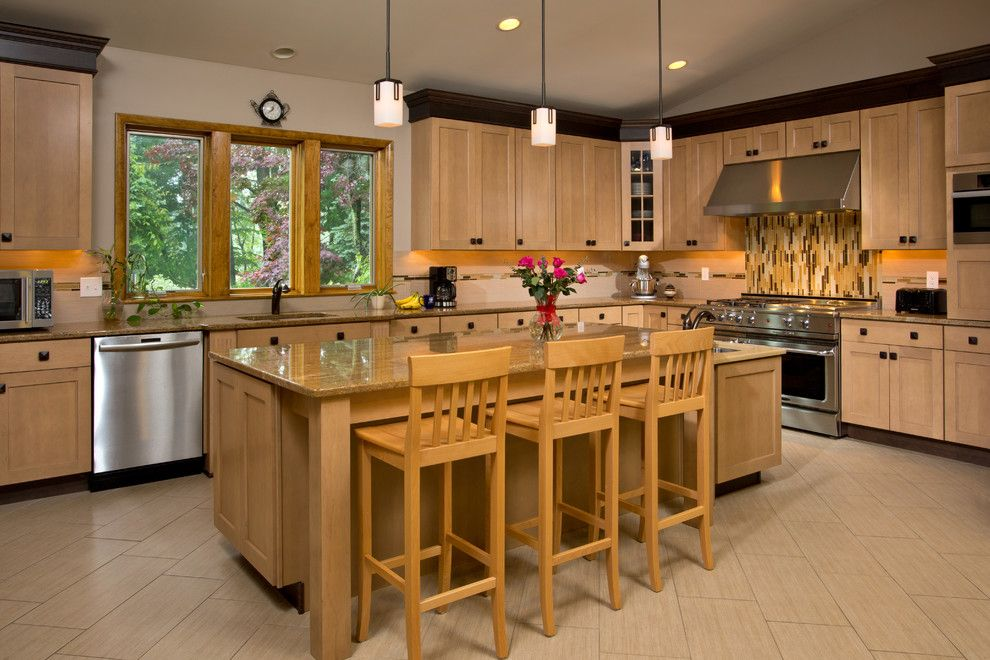 Pleasure Island Orlando for a Transitional Kitchen with a Wolf Range and Iron and Wood by Teakwood Builders, Inc.