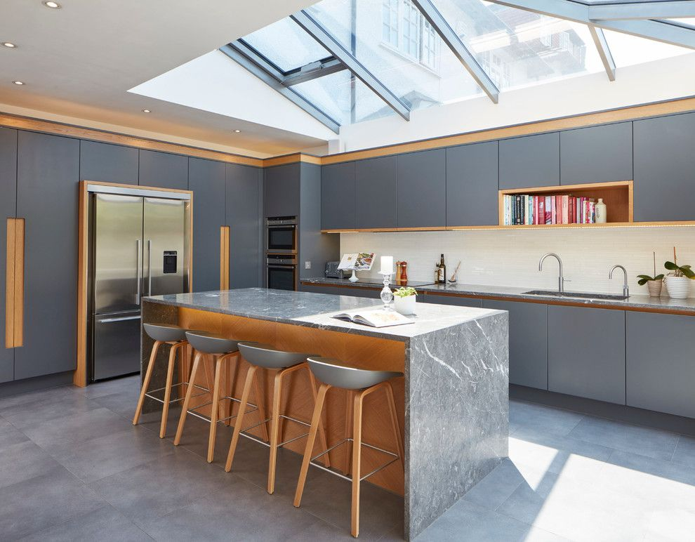 Plumbers Supply Louisville for a Contemporary Kitchen with a Cookbooks and Bespoke Kitchen in London Townhouse by Extreme Design