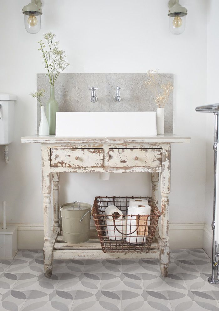 Plumbers Supply Louisville for a Shabby Chic Style Bathroom with a Cement Tiles and 'Leaf' Grey Encaustic Tiles by Lindsey Lang by Lindsey Lang Design Ltd