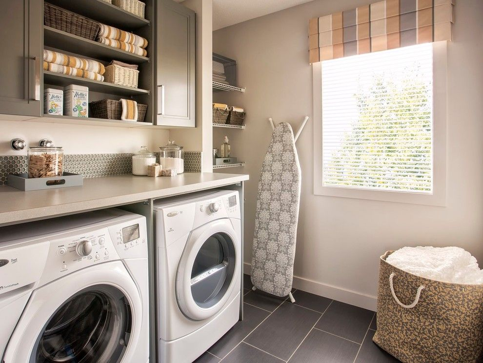 Plumbers Supply Louisville for a Transitional Laundry Room with a Wicker Baskets and Farm House Fresh Show Home for Hopewell Residential by Wise Home + Design