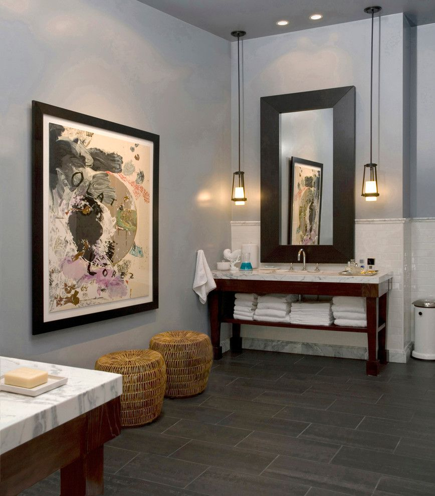 Plywood Plank Floor for a Contemporary Bathroom with a Wicker Seats and Our Home by Studios 1019