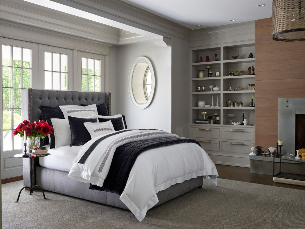 Plywood Plank Floor for a Contemporary Bedroom with a Contemporary and Pratesi Lingotto Bedding Collection by Bloomingdale's