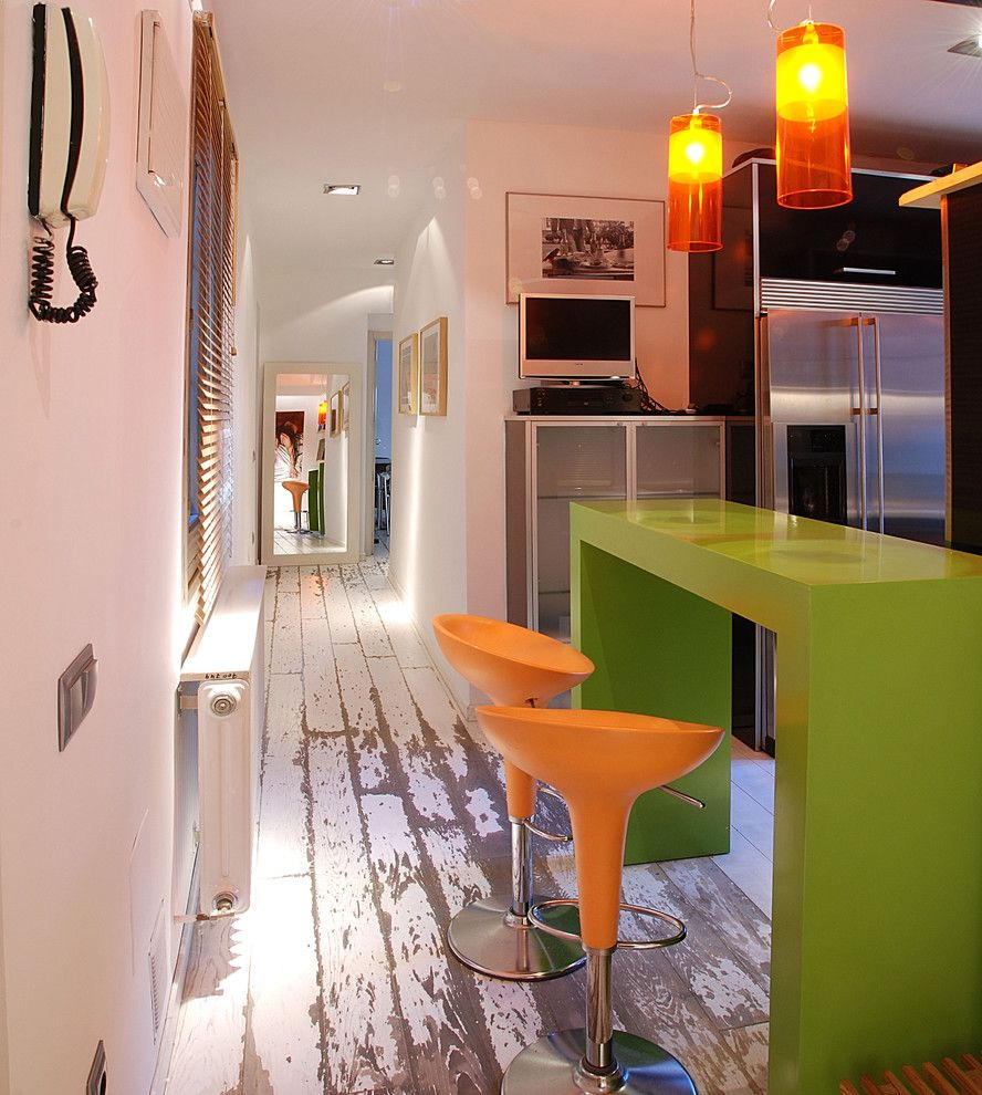 Plywood Plank Floor for a Contemporary Hall with a White Painted Wood Floor and Hall and Office Bar by Isolina Mallon Interiors
