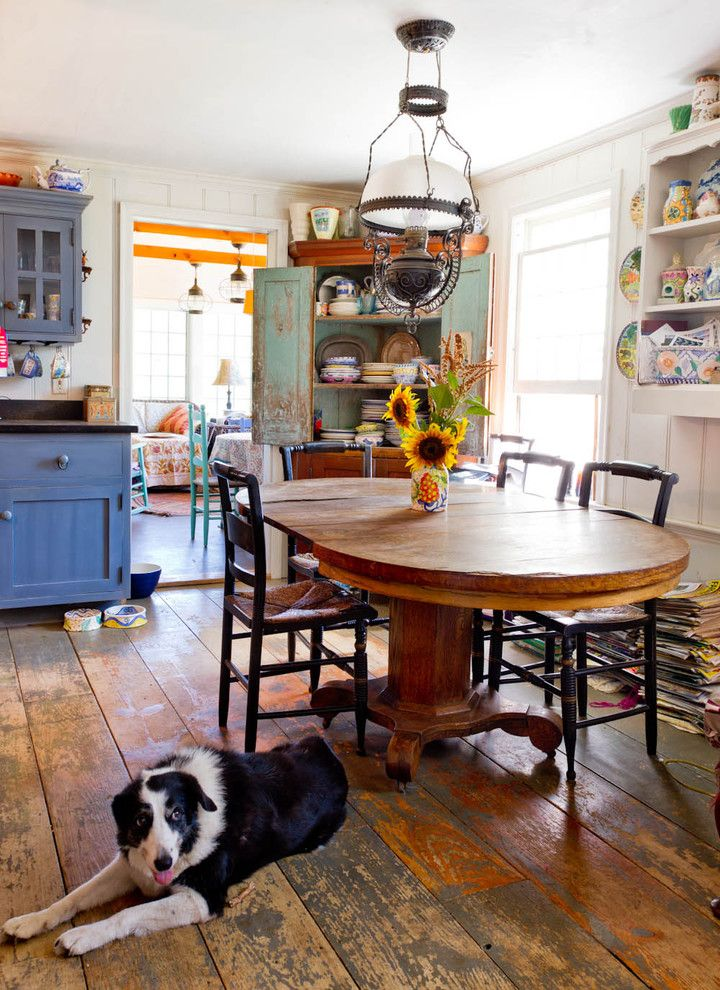 Plywood Plank Floor for a Farmhouse Dining Room with a Oil Lamp and My Houzz: An Antique Cape Cod House Explodes with Color by Rikki Snyder