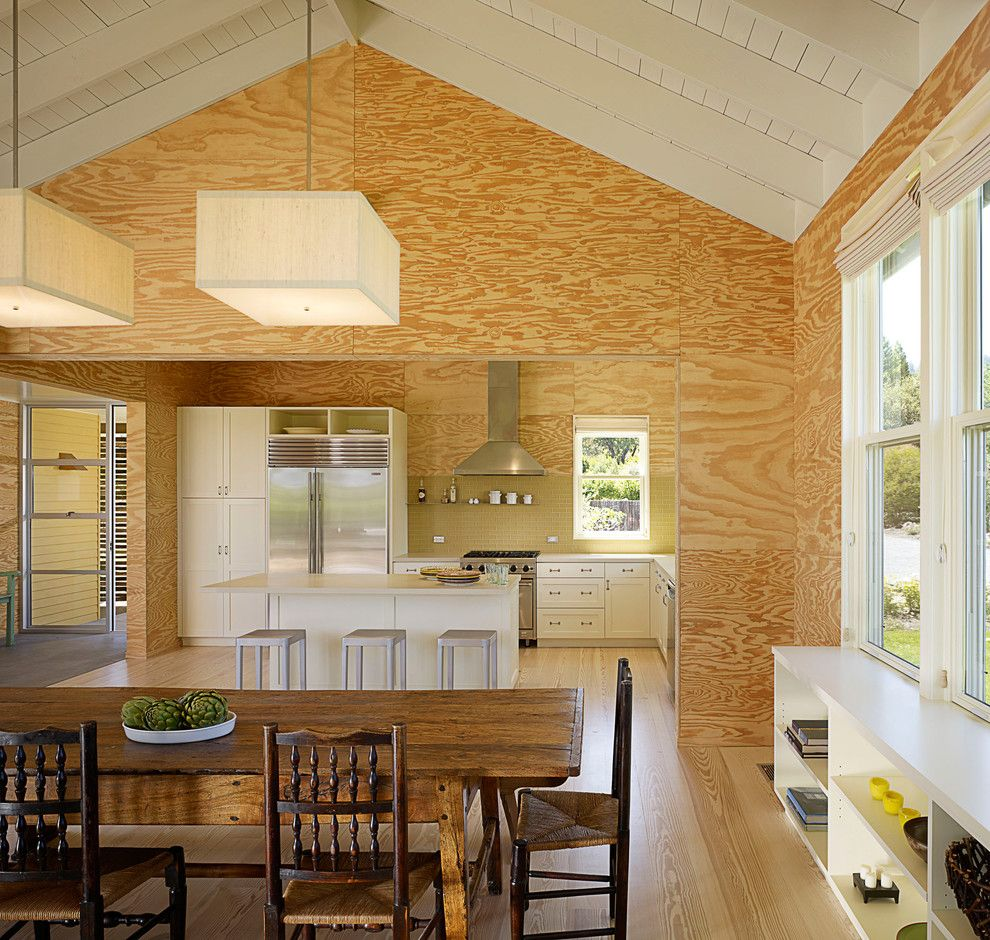 Plywood Plank Floor for a Farmhouse Kitchen with a Beige Cabinets and West Dry Creek Residence by Nick Noyes Architecture
