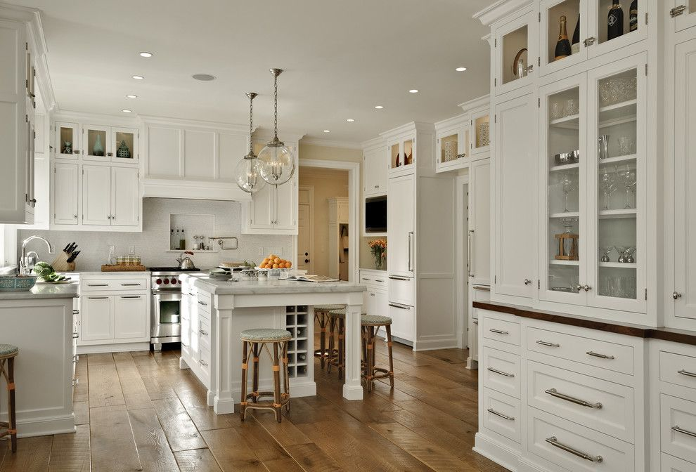 Plywood Plank Floor for a Traditional Kitchen with a Cabinet Hardware and Crisp Architects by Crisp Architects
