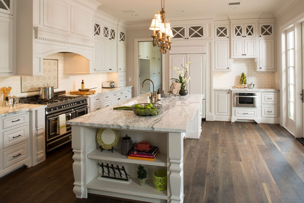 Plywood Plank Floor for a Traditional Kitchen with a White Marble and Whitestone Builders   Charleston by Whitestone Builders