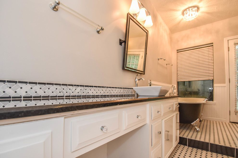 Pmac Lending Services for a Transitional Bathroom with a Bathroom Flooring and Houston Bathroom Remodel   Long & Narrow, Black & White by Outdoor Homescapes of Houston