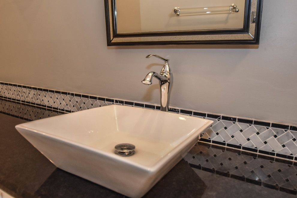 Pmac Lending Services for a Transitional Bathroom with a Chandeliers and Houston Bathroom Remodel   Long & Narrow, Black & White by Outdoor Homescapes of Houston