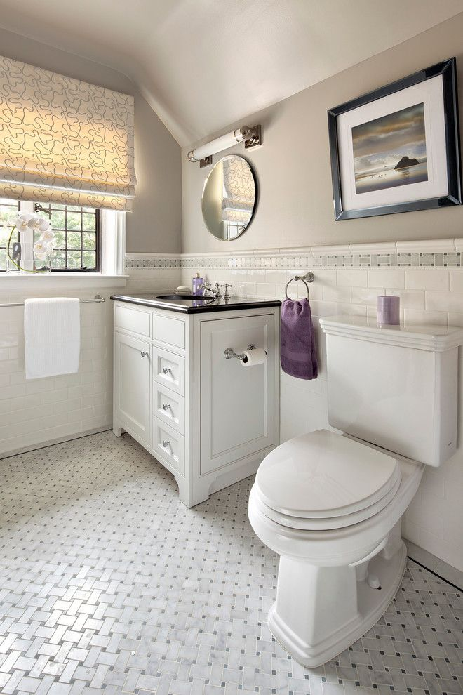 Polish Hearts Usa for a Contemporary Bathroom with a Chair Rail and Bathrooms by Clean Design