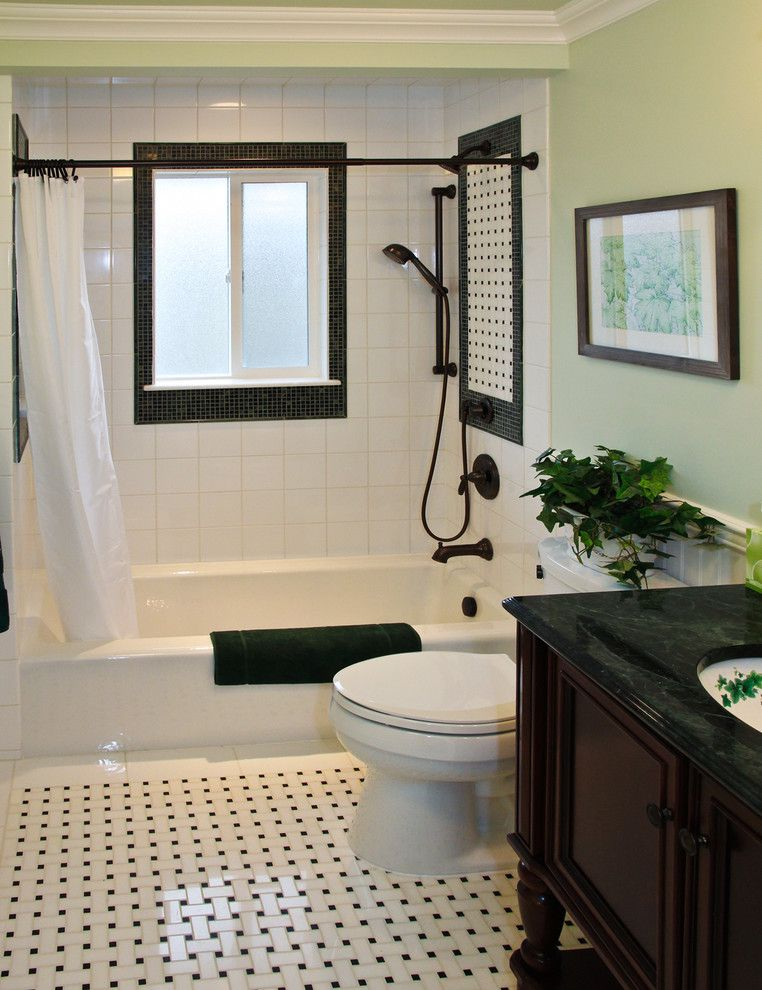 Polish Hearts Usa for a Traditional Bathroom with a Green Wall and Denville, Nj Main Bath Renovation by Katy Repka Design