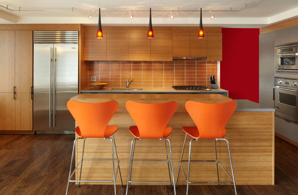 Poltrona Frau for a Contemporary Kitchen with a Axis Mundi and Combined Apartment by Axis Mundi Design