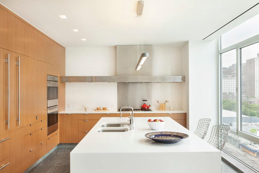 Poltrona Frau for a Contemporary Kitchen with a Ipe and High Line Penthouse, New York, Ny by Billinkoff Architecture Pllc