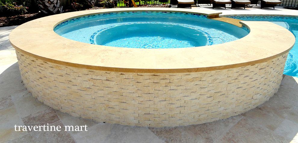 Pool Mart for a Rustic Pool with a Outdoor Tiles and Roman Walnut Blend Travertine Pavers by Travertine Mart