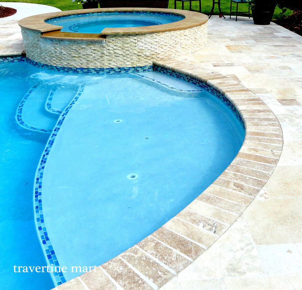 Pool Mart for a Rustic Pool with a Roman Walnut Travertine and Roman Walnut Blend Travertine Pavers by Travertine Mart