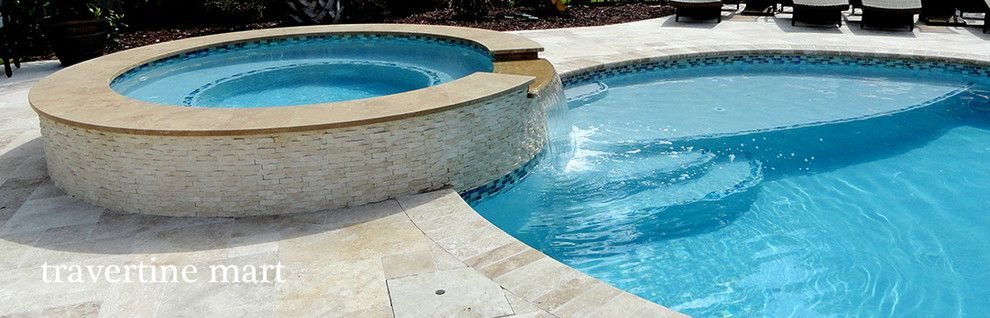 Pool Mart for a Rustic Pool with a Travertine and Roman Walnut Blend Travertine Pavers by Travertine Mart