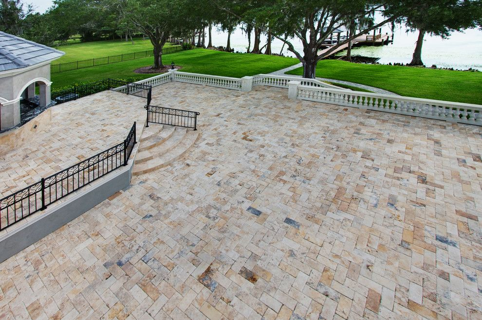 Pool Mart for a Traditional Deck with a Stone and Country Classic 6x12 Tumbled Pavers by Stone Mart