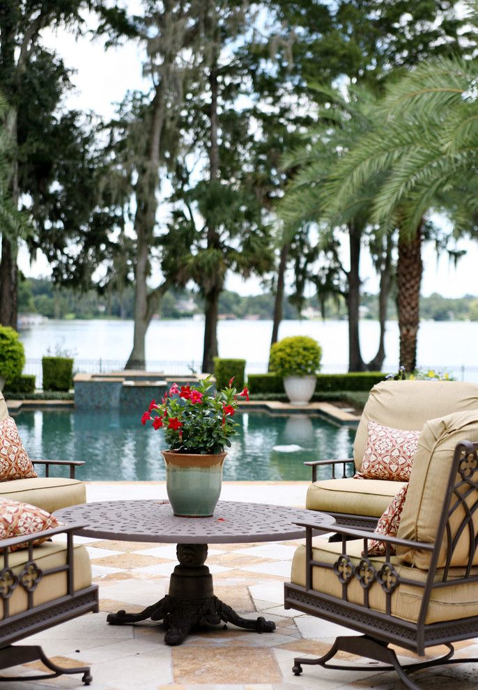 Pool World Spokane for a Beach Style Patio with a Pedestal Table and Preserve Point by Anne Rue Interiors