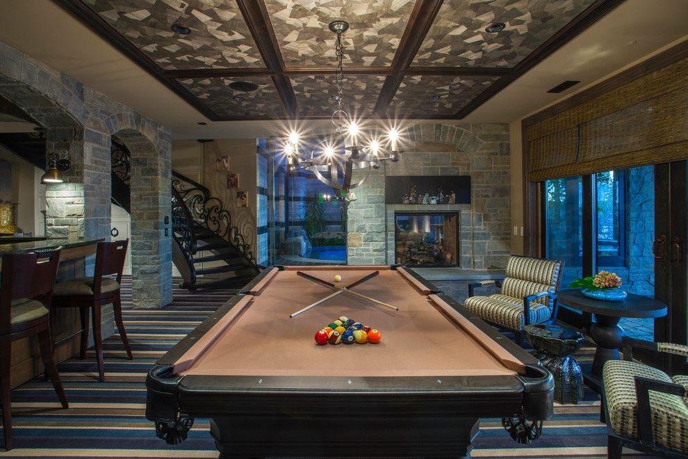 Pool World Spokane for a Traditional Basement with a Billiard and Traditional Basement by Douglashomes.net