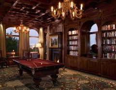 Pool World Spokane for a Traditional Family Room with a Dark Floor and Malinard Manor - Billiards Room by Cravotta Interiors