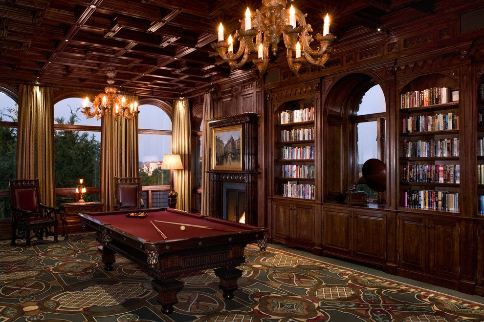 Pool World Spokane for a Traditional Family Room with a Dark Floor and Malinard Manor   Billiards Room by Cravotta Interiors