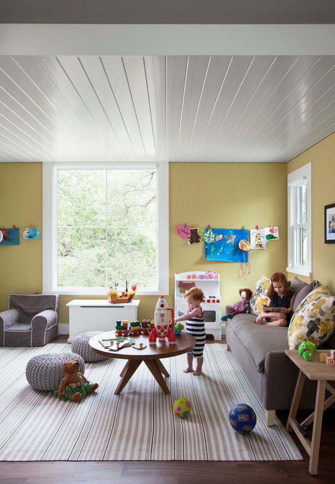 Popcorn Ceiling Asbestos for a Farmhouse Kids with a Poufs and Modern Farm House by Tim Cuppett Architects