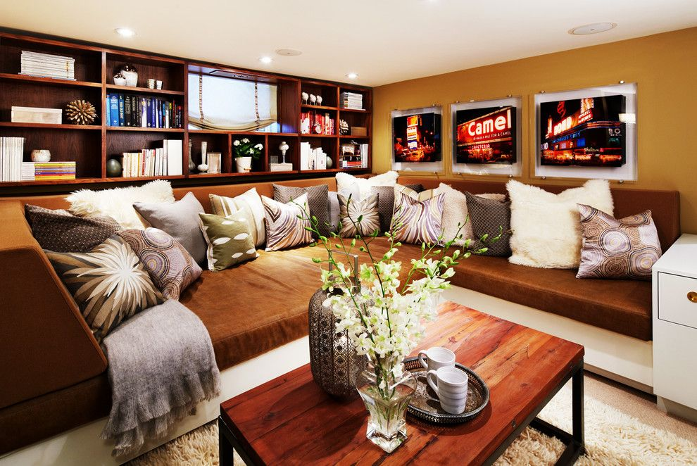 Popcorn Ceilings for a Contemporary Living Room with a Brown Wall and Waverley by Sealy Design Inc.