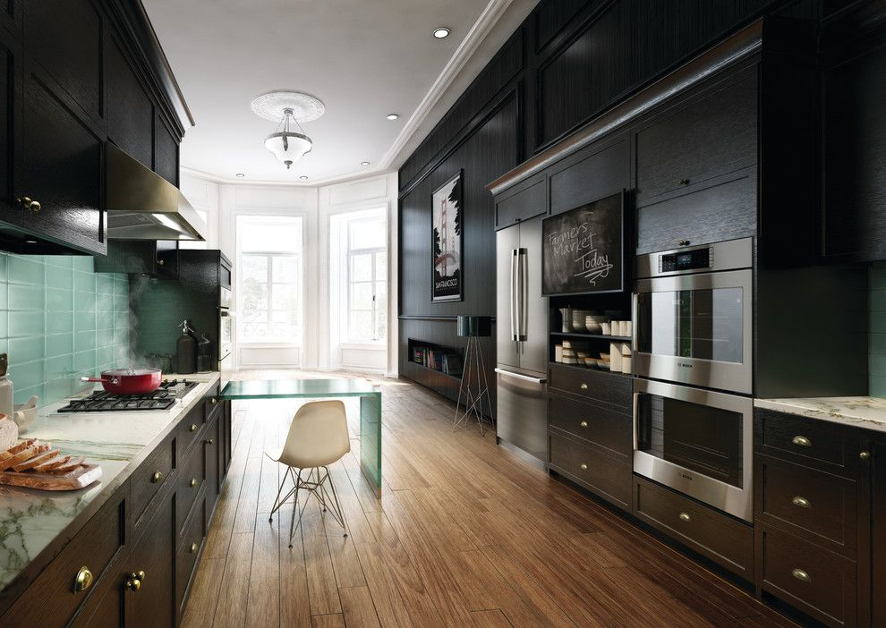 Popcorn Ceilings for a Modern Kitchen with a Wall Hood and Bosch Kitchens by Bosch Home Appliances