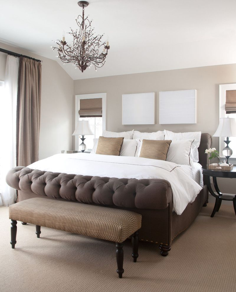 Popcorn Ceilings for a Traditional Bedroom with a Beige Roman Shade and Chalet Interiors by Chalet