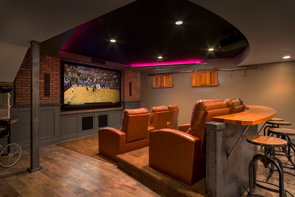 Popcorn Ceilings for a Traditional Home Theater with a Fiber Optic Ribbon Ceiling Lights and Lower Level Finish with Home Theatre and More! by Chc Design Build