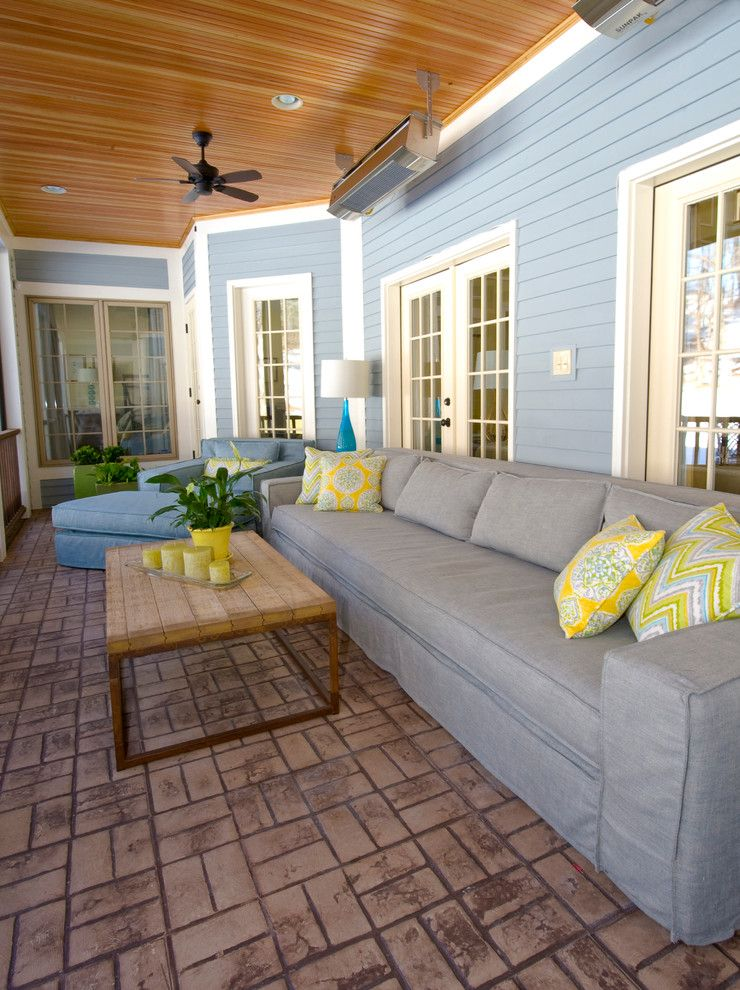 Popcorn Ceilings for a Traditional Porch with a Traditional and Screened in Porch by K. D. Ellis Interiors