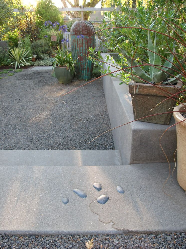 Portland Sand and Gravel for a Eclectic Landscape with a Acid Etched Concrete and Elizabeth and Linda's Yard Renovation by Landscape East & West