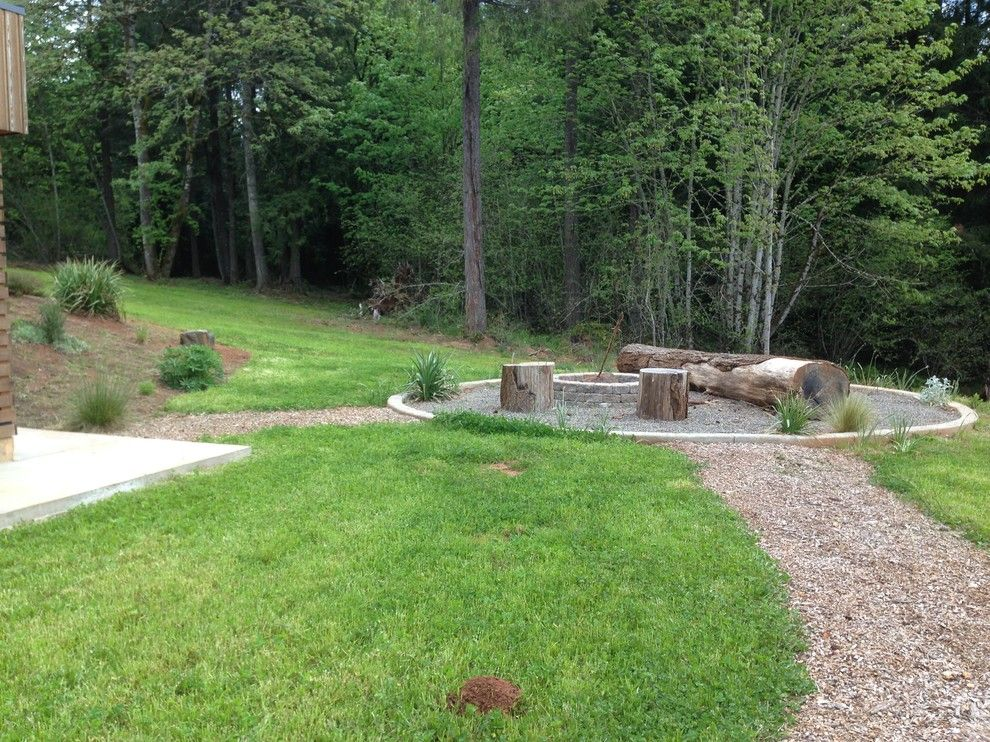 Portland Sand and Gravel for a Modern Landscape with a Gravel and North Plains House Fire Pit, Woods by Rachel's Landscape Design