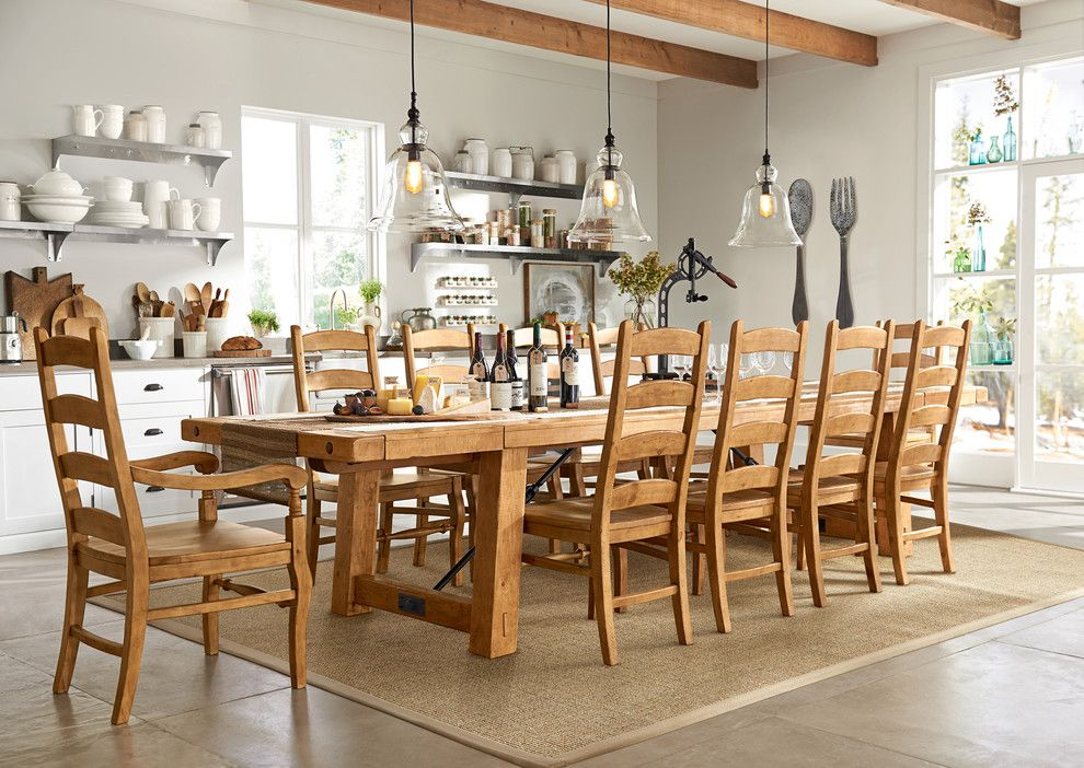 Pottery Barn Returns for a Contemporary Kitchen with a Glass Pendants and Pottery Barn by Pottery Barn