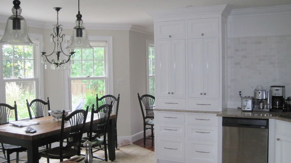 Pottery Barn Returns for a Traditional Kitchen with a Marble Tile and Shannon Cabinetry by Shannon Cabinetry