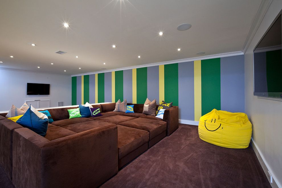 Poway Movie Theater for a Contemporary Basement with a Vertical Stripes and Basement by Cara Woodhouse Interiors LLC