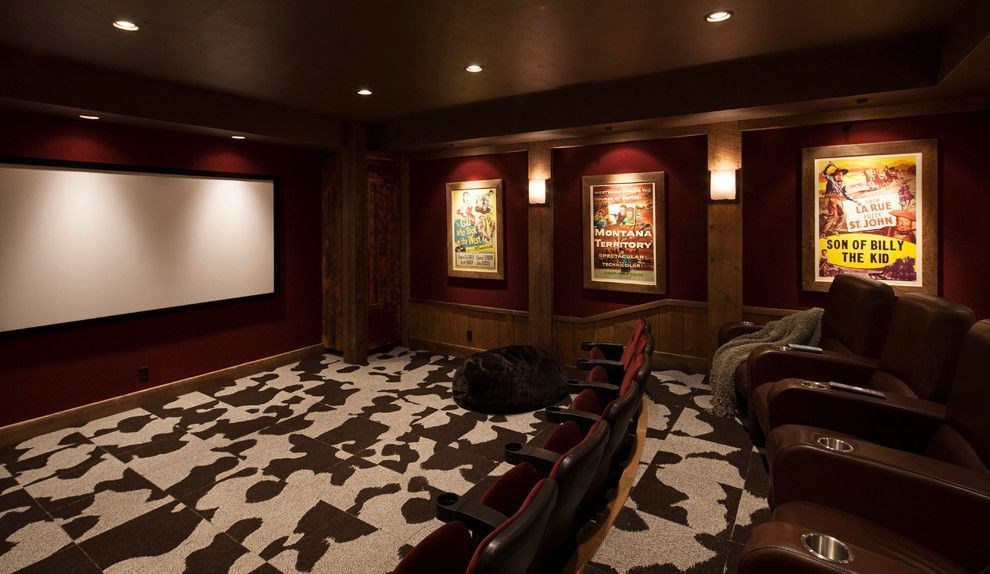 Poway Movie Theater for a Rustic Home Theater with a Recliner Chairs and Montana Family Compound by Shannon Callaghan Interior Design