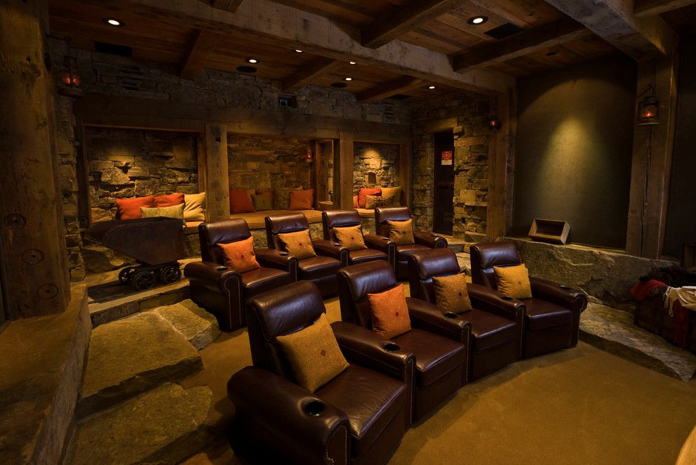 Poway Movie Theater for a Rustic Home Theater with a Timber Accents and Bridger Canyon Residence by Locati Architects