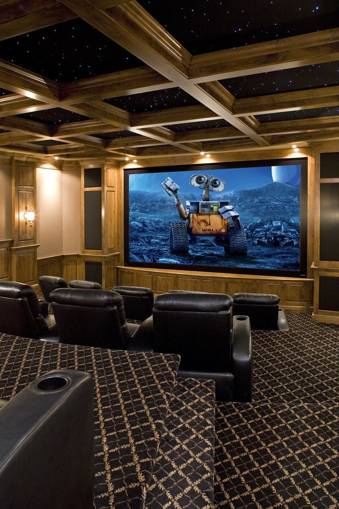 Poway Movie Theater for a Traditional Home Theater with a Alder Millwork and Movie Theater by John Kraemer & Sons