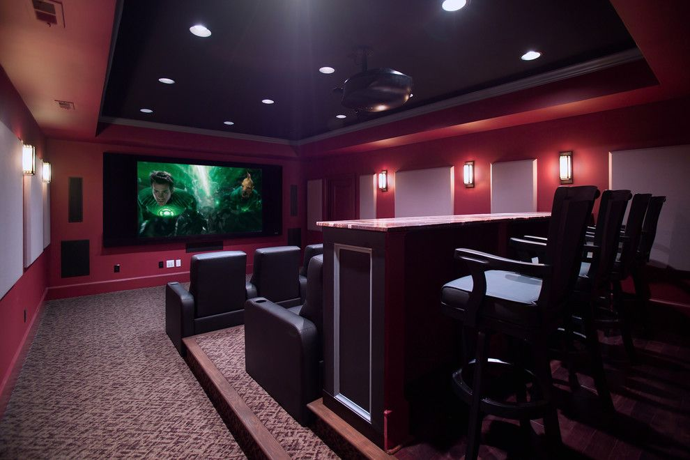 Poway Movie Theater for a Traditional Home Theater with a Media Room and Media Room and Home Theater by Rule4 Building Group