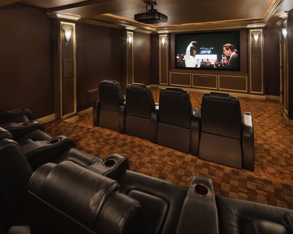 Poway Movie Theater for a Traditional Home Theater with a Traditional and Modern Marvel by Creative Design Construction, Inc.
